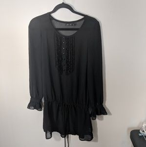 Seven7 Black Ruffle Top, Sz Small